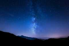 night sky stars. Milky Way. Mountain background